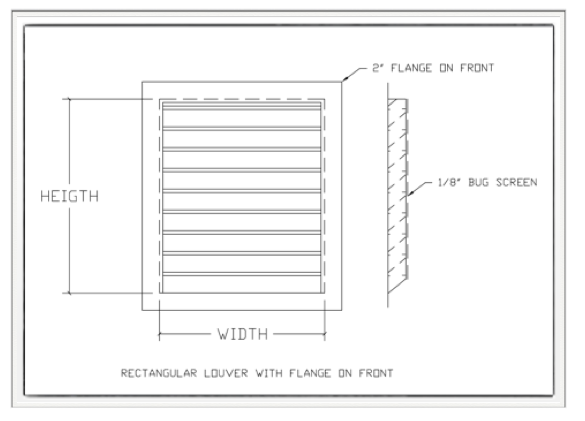 Louver Rectangular With Front Flange Drawing